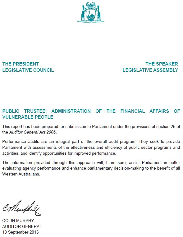 Tabling Letter Office Of The Auditor General