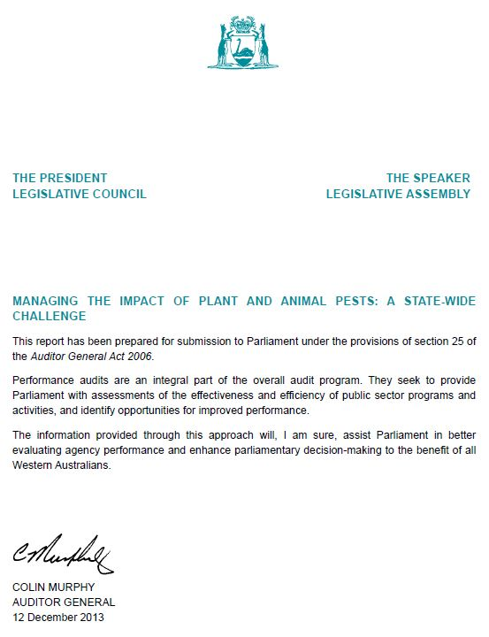 Tabling letter - Office of the Auditor General