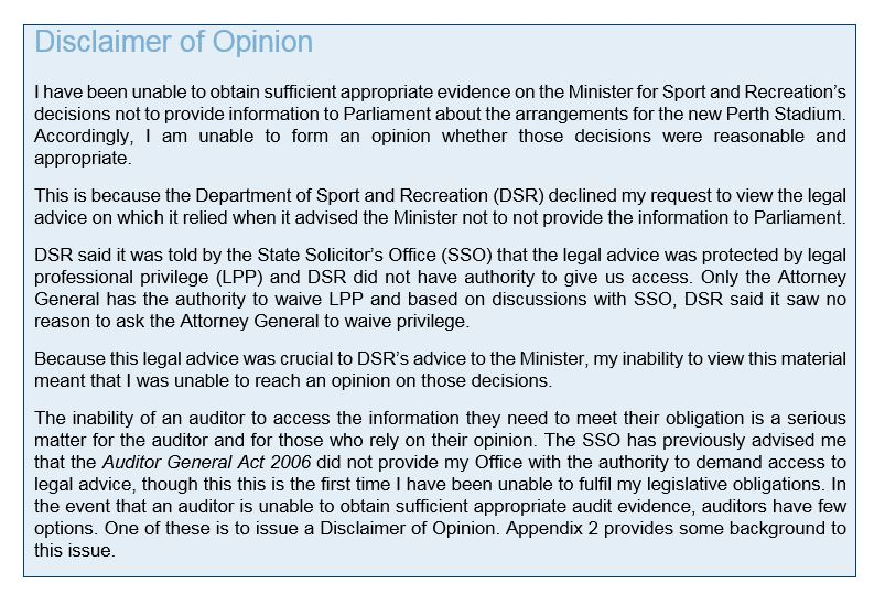 Disclaimer of Opinion - Office of the Auditor General