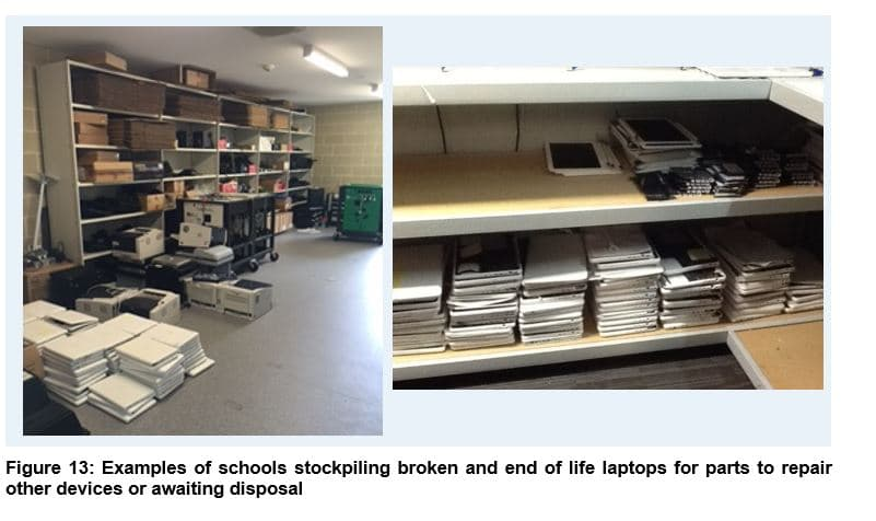 Figure 13 - Examples of schools stockpiling broken and end of life laptops