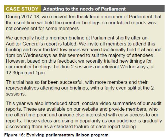 Figure 16 - Evolving parliamentary liaison program